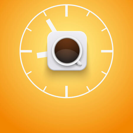 Background concept cup of coffee and time  Vector Illustration  Vector