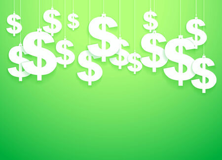 canadian cash: Green Background of hung symbols Dollar with space for text   Illustration