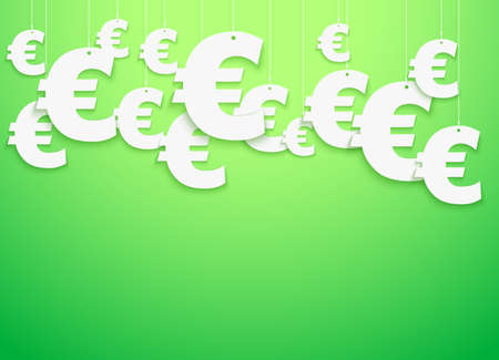 Bright Background of hung symbols Euro with space for text  Vector Illustration, eps10, isolated and editable