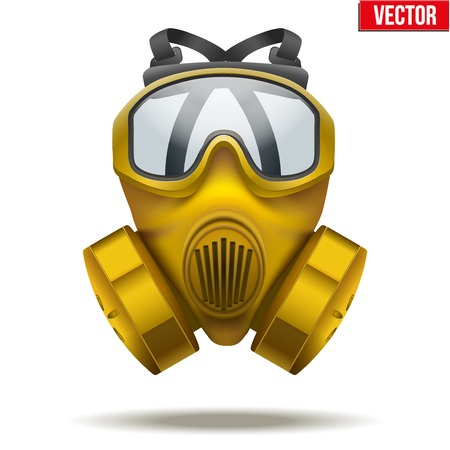 army gas mask: Vector Illustration of Yellow gas mask respirator  Rubber rescuer symbol of defense and protect  Isolated on white background