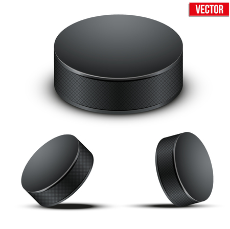 team sport: Set of Black Hockey pucks. Vector Illustration. Isolated on white background.