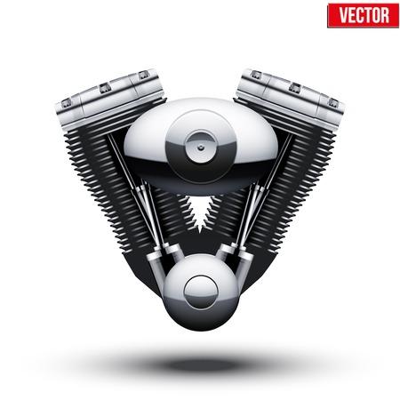 Retro motorcycle engine. Vector Illustration. Isolated on white background.