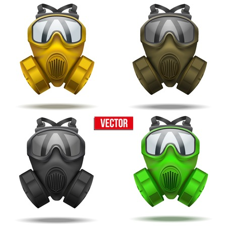 Set of gas mask respirator. Rubber rescuer symbol of defense and protect. Isolated on white background. Illustration