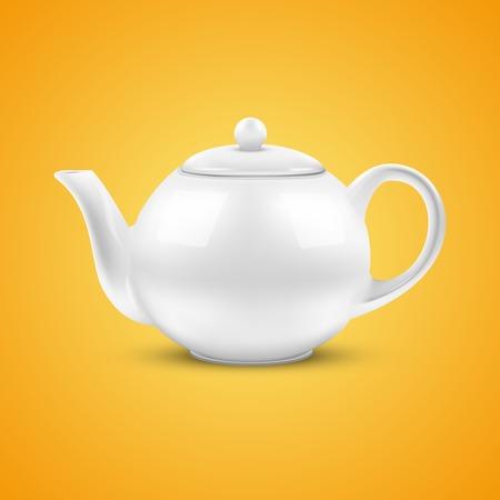 Orange background of White ceramic teapot  Vector illustration  Vector
