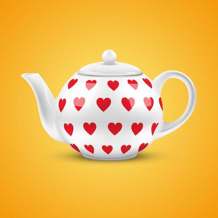 chinese tea cup: Fondo anaranjado de la tetera de cer�mica blanca con la ilustraci�n del modelo de los corazones Vector aislado de fondo