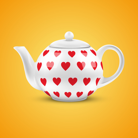 Orange background of White ceramic teapot with hearts pattern  Vector illustration  Isolated of background  Vector
