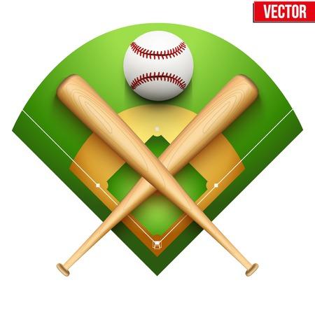 campo de beisbol: Ilustraci�n vectorial de la pelota de cuero de b�isbol y palos de madera en campo S�mbolo del deporte aislados en el fondo blanco