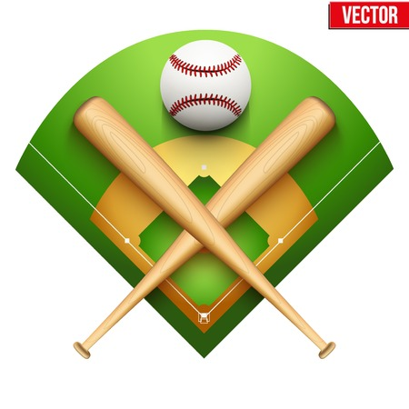 fields: Vector illustration of baseball leather ball and wooden bats on field  Symbol of sports  Isolated on white background