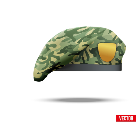 military beret: Military Beret with Camouflage texture of Army Special Forces  Vector Illustration  Isolated on white background