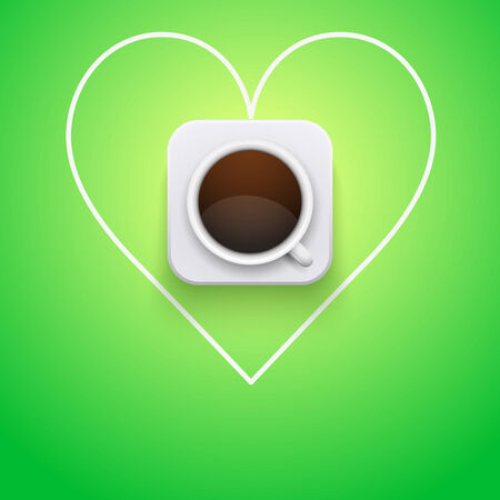 Background concept cup of coffee and heart with arrow  Vector Illustration  Vector