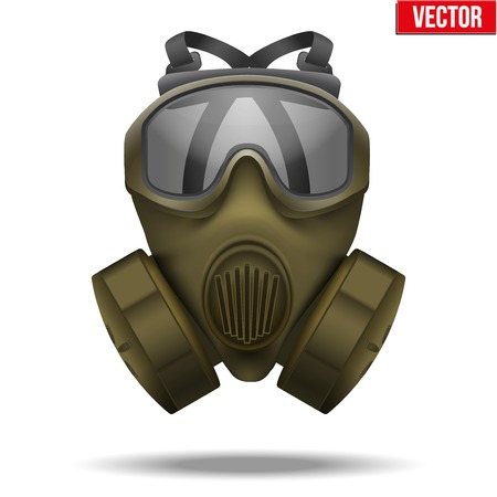 toxins: Vector Illustration of Khaki gas mask respirator   Rubber rescuer symbol of defense and protect  Isolated on white background