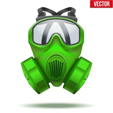 army gas mask: Ilustraci�n del vector del s�mbolo m�scara de gas verde rescatador Rubber respirador de defensa y protecci�n de aislados sobre fondo blanco Vectores