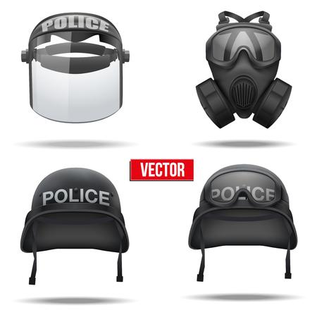 army gas mask: Conjunto de los cascos de la polic�a y el s�mbolo de la defensa aislada sobre fondo blanco Ilustraci�n vectorial m�scara Ej�rcito Vectores
