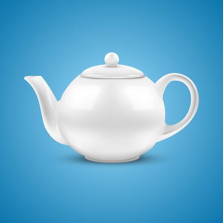 chinese tea cup: Fondo azul de cer�mica blanca ilustraci�n vectorial tetera Vectores
