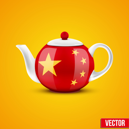 chinese teapot: Background of Chinese ceramic teapot  with China flag  Vector illustration  Illustration