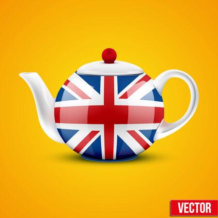 chinese tea cup: Antecedentes de la tetera de cer�mica Ingl�s con la bandera de Gran Breta�a ilustraci�n vectorial