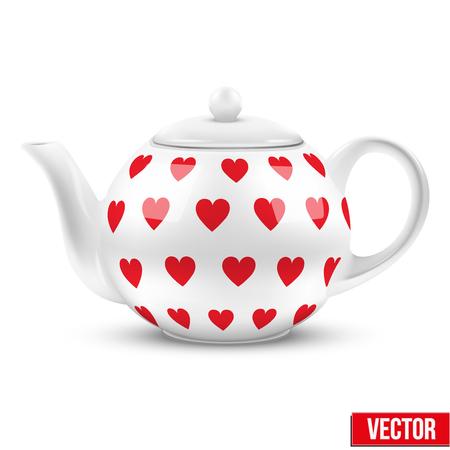 chinese tea cup: Tetera de cer�mica blanca con patr�n de corazones ilustraci�n vectorial aislado de fondo