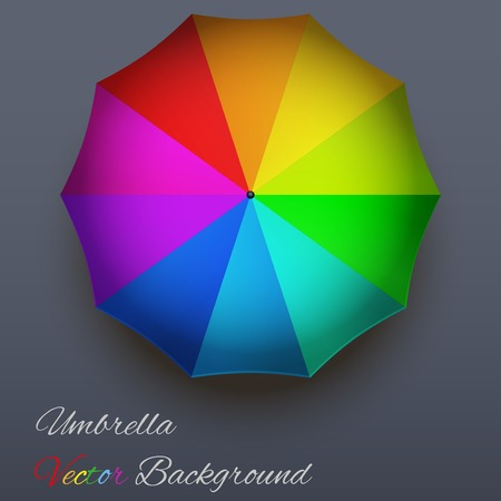 rainbow umbrella: Background on a seasons theme of autumn  Symbol rainbow umbrella with rain drops  Vector Illustration