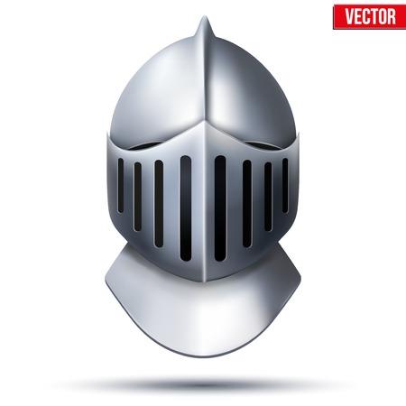 cavaliere medievale: Crociato Metallic Cavaliere s Helmet stile retrò vettore sfondo Vettoriali