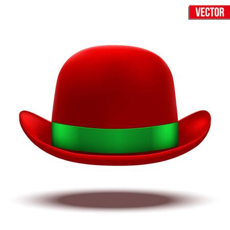 bouliste: Chapeau melon rouge avec ruban de soie verte Illustration