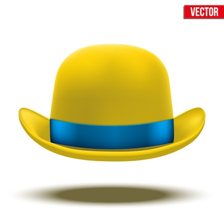 bowler hat: Yellow bowler hat with silk blue ribbon