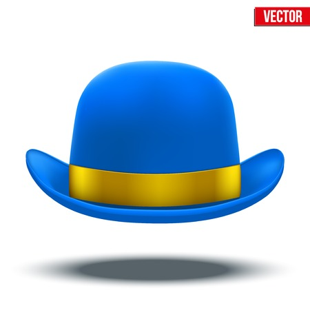 bowler hat: Blue bowler hat with silk yellow ribbon