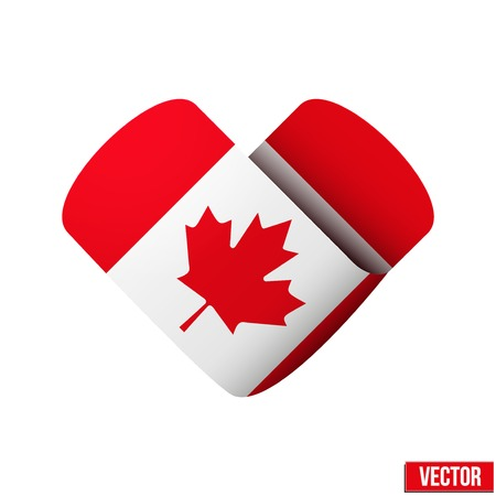 i love canada: Canada flag icon in the form of heart Isolated on white background
