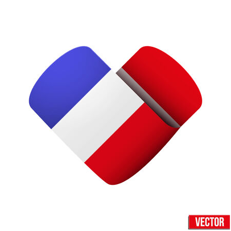 France flag icon in the form of heart Isolated on white background  Vector