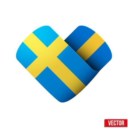Sweden flag icon in the form of heart Isolated on white background  Vector