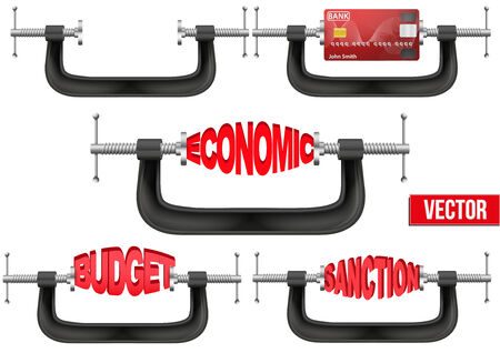 Set of Economy and budget being squeezed in a vice