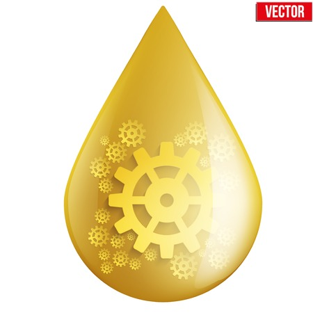 Yellow oil industry drop symbol with gears cogs