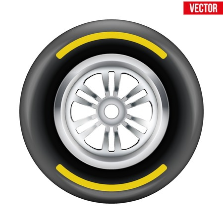 Race wheel and tire symbol with yellow strip  Illustration