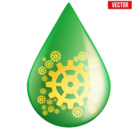 environmental policy: Green oil industry drop symbol with gears cogs  Vector Illustration isolated on white background