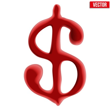 collapsing: Red blood dollar sign on white background Illustration