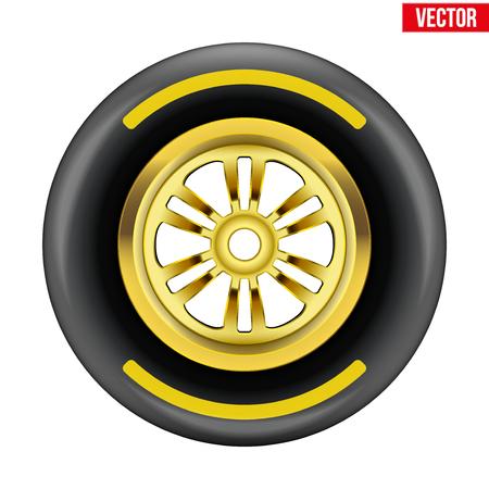 레이스 휠 및 노란색 디스크와 스트립과 타이어 기호 벡터 일러스트 레이 션 흰색 배경에 고립