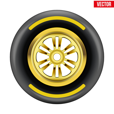 Race wheel and tire symbol with yellow disk and strip Vector Illustration isolated on white background