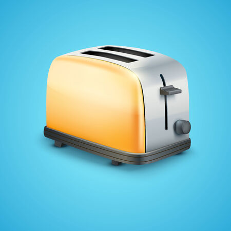 Bright orange Metal Glossy Toaster  Vector illustration  Vector