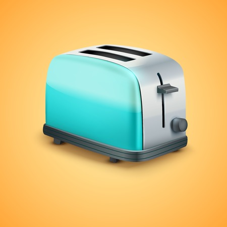 Bright blue Metal Glossy Toaster  Vector illustration
