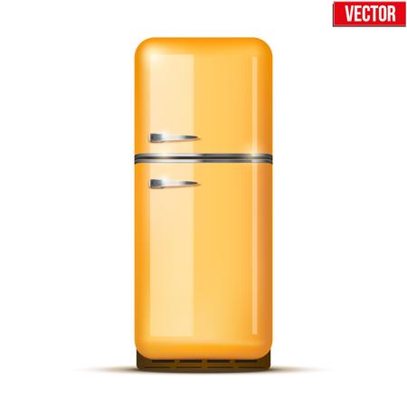 household appliances: Classic Fridge refrigerator in orange color  Household appliances  Vector isolated on white background