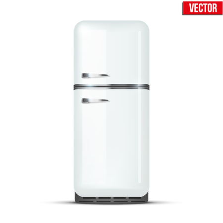 Retro Fridge refrigerator in white color  Household appliances  Vector isolated on white background Vector