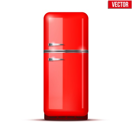 Retro Fridge refrigerator in red retro color  Household appliances  Vector isolated on white background