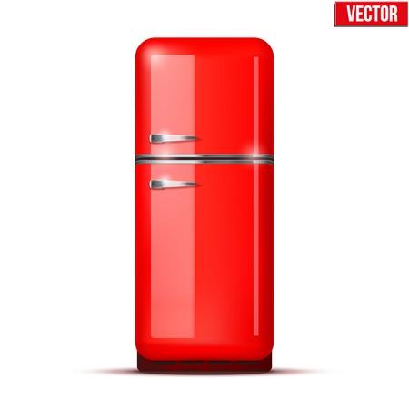 Retro Koelkast koelkast in rood retro kleur Huishoudapparaten Vector geà ¯ soleerd op witte achtergrond