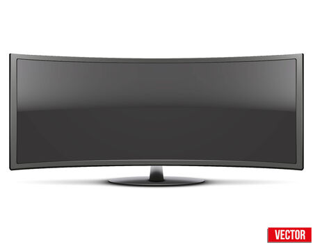 Frontal view of big curved widescreen led or lcd tv monitor  Vector Illustration isolated on white