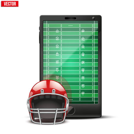 Smartphone with american football ball and field on the screen  Sports theme and applications  Vector illustration Isolated on white background  Vector