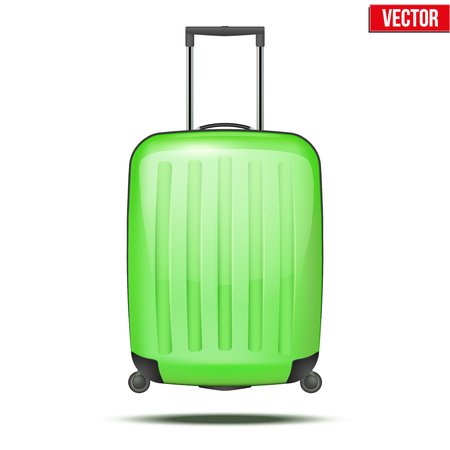 conveyance: Classic green plastic luggage suitcase for air or road travel  Vector Illustration isolated on white background  Illustration