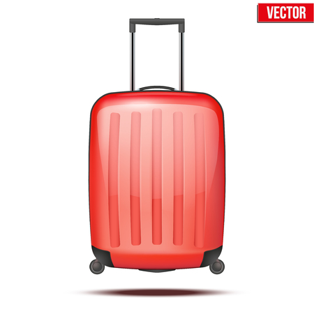 Classic red plastic luggage suitcase for air or road travel  Vector Illustration isolated on white background