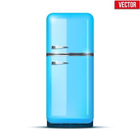 household appliances: Classic Fridge refrigerator in blue color  Household appliances  Vector isolated on white background