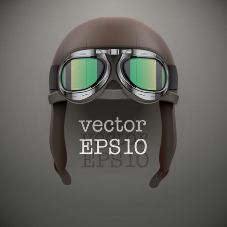 889d01f4e957c3  30345397 - Achtergrond van Retro aviator piloot lederen helm met bril  Vintage object vector illustratie geïsoleerd op wit