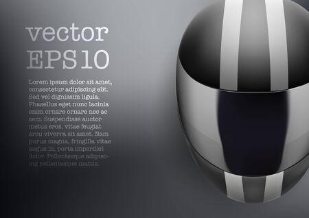 motorradhelm: Hintergrund des schwarzen Motorrad-Helm mit wei�en Streifen. Sport Vektor-Illustration. Illustration