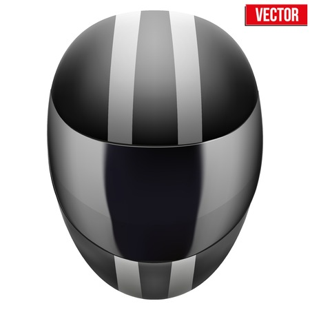black motorcycle helmet with white strip. Sport vector Illustration isolated on white background. Illustration